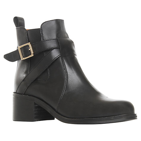 Buy Carvela Sadie Leather Wraparound Block Heel Ankle Boots, Black Online at johnlewis.com