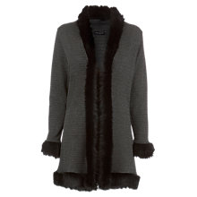 Buy James Lakeland Jacquard Fur Cardigan, Black/Grey Online at johnlewis.com