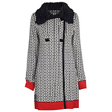 Buy James Lakeland Jacquard Coat, Cream/Black/Red Online at johnlewis.com