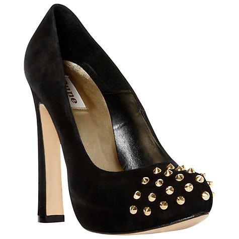 Buy Dune Blissfield Suede Studded Toe Concealed Platform Court Shoes, Black Online at johnlewis.com