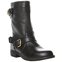 Buy Dune Riff Buckle Biker Style Leather Calf Boots, Black Online at johnlewis.com