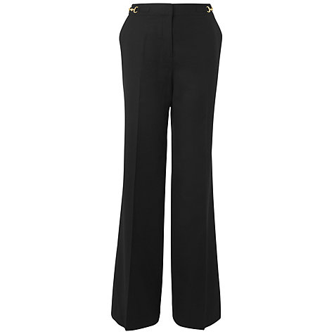 Buy Jaeger Snaffle Flannel Trousers, Black Online at johnlewis.com