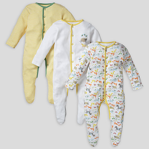 Buy John Lewis Baby Farmyard Sleepsuits, Pack of 3, Yellow Online at johnlewis.com