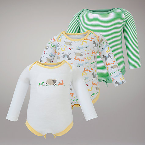 Buy John Lewis Baby Farmyard Bodysuits, Pack of 3, Yellow Online at johnlewis.com