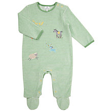 Buy John Lewis Baby Stripe Trail Velour Sleepsuit, Green Online at johnlewis.com