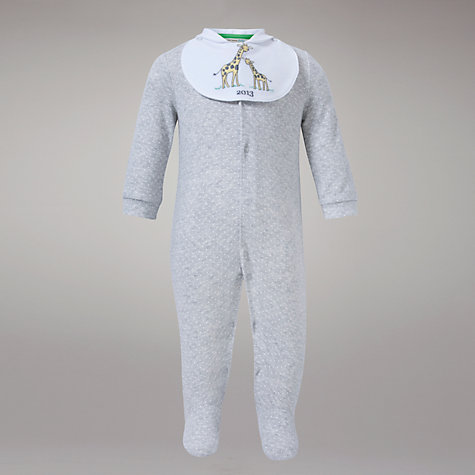 Buy John Lewis Baby Jersey All In One and Giraffe 2013 Bib, Grey Online at johnlewis.com
