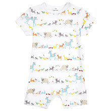 Buy John Lewis Farmyard Romper Suit, White/Multi Online at johnlewis.com