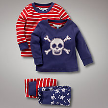 Buy John Lewis Skull Pyjamas, Pack of 2, Red/Navy Online at johnlewis.com