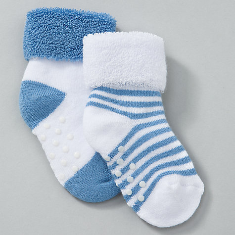 Buy John Lewis Baby Terry Socks with Grips, Blue Online at johnlewis.com