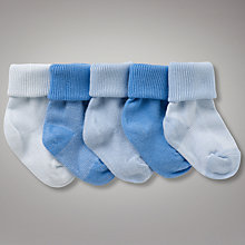 Buy John Lewis Roll Top Striped Socks, Pack of 5, Blue Online at johnlewis.com