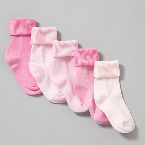 Buy John Lewis Roll Top Striped Socks, Pack of 5, Pink Online at johnlewis.com