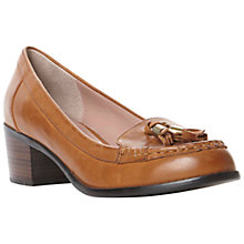 Buy Dune Leiston Leather Tasseled Block Heel Loafers Online at johnlewis.com