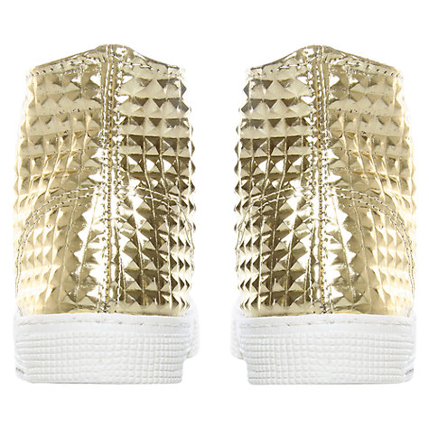 Buy Kurt Geiger London Calling Textured Hi Top Metallic Trainers, Gold Online at johnlewis.com