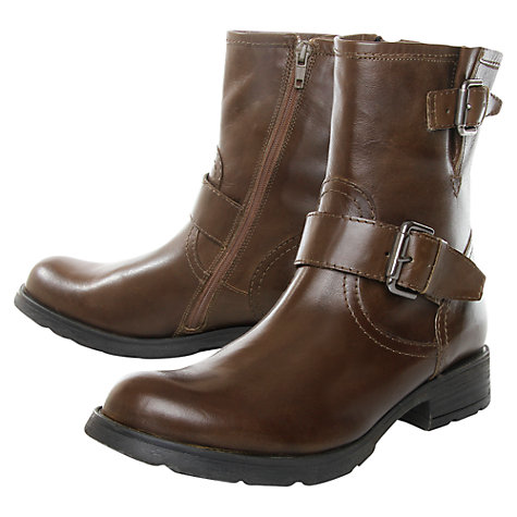 Buy Kurt Geiger Shiloh Leather Double Buckle Boots, Khaki/Brown Online at johnlewis.com