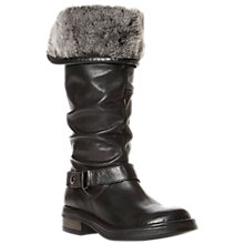 Buy Dune Reading Rouched Leather Shearling Cuff Knee Boots, Black Online at johnlewis.com