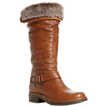 Buy Dune Reading Rouched Leather Shearling Cuff Knee Boots, Tan Online at johnlewis.com