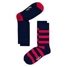 Buy Happy Socks Stripe and Plain Socks, Pack of 2, Navy Online at johnlewis.com