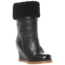 Buy Dune Rocha Leather Shearling Top Wedge Heel Calf Boots, Black Online at johnlewis.com