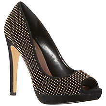 Buy Dune Drag Suede Studded Peep Toe Stiletto Court Shoes, Black Online at johnlewis.com