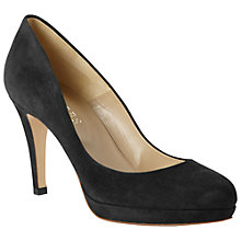 Buy Hobbs Marcia Fine Suede Stiletto Platform Court Shoes, Black Online at johnlewis.com