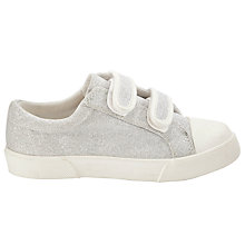 Buy John Lewis Girl Glitter Double Strap Trainers, Silver Online at johnlewis.com