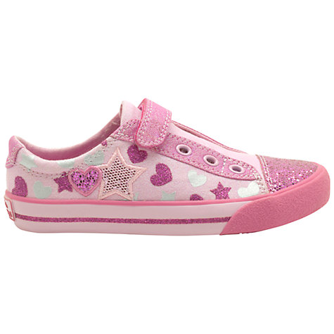 Buy Clarks Doodles Glitter Be Canvas Trainers, Pink Online at johnlewis.com