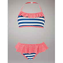 Buy John Lewis Girl Nautical Bikini, Blue/Red Online at johnlewis.com