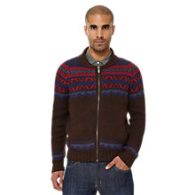Buy Original Penguin Raglan Sleeve Fair Isle Cardigan, Brown Online at johnlewis.com