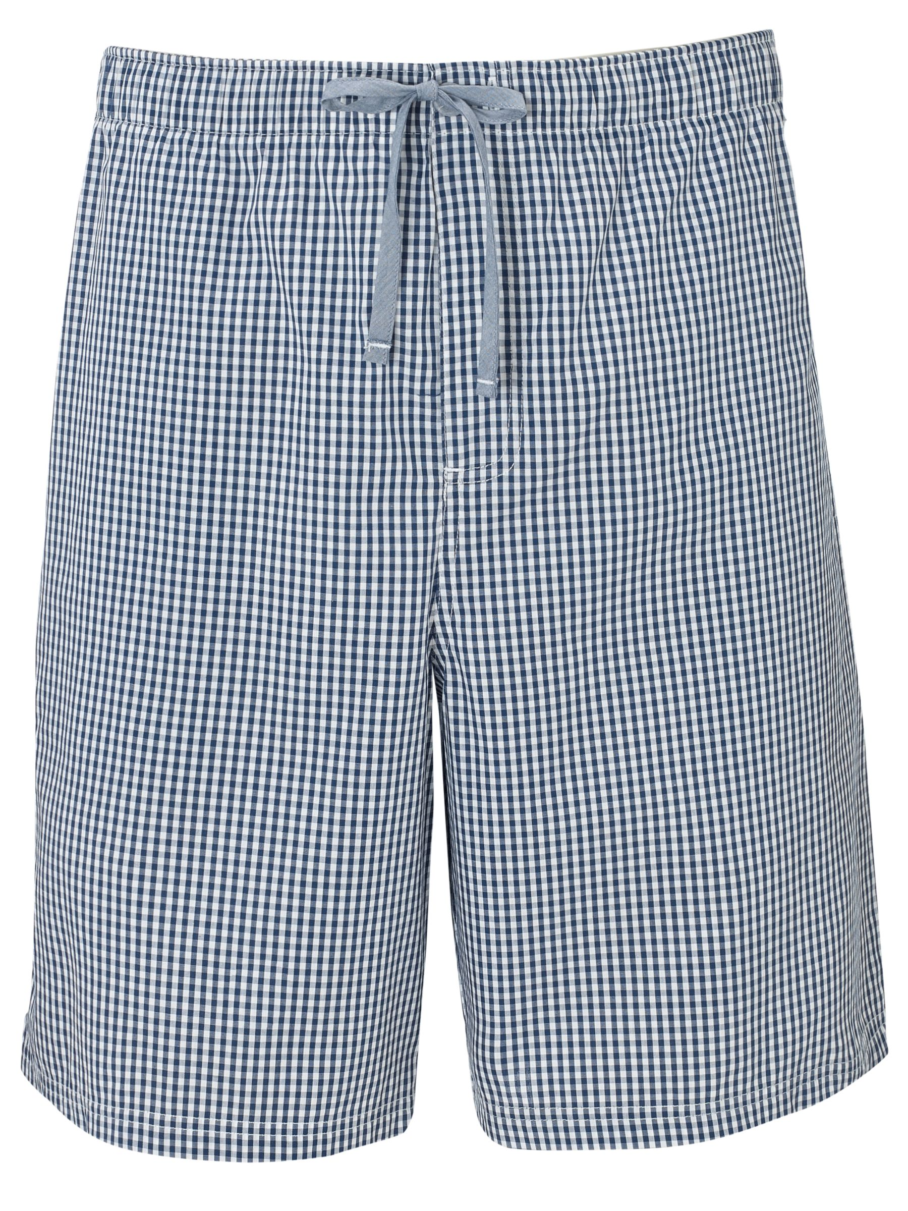 John Lewis Check Lounge Shorts, Blue/White