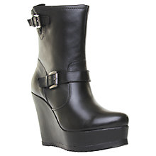 Buy Carvela Skid Leather High Wedge Platform Buckled Calf Boots, Black Online at johnlewis.com
