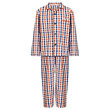 Buy John Lewis Boy Gingham Checked Pyjamas, Orange/Blue Online at johnlewis.com