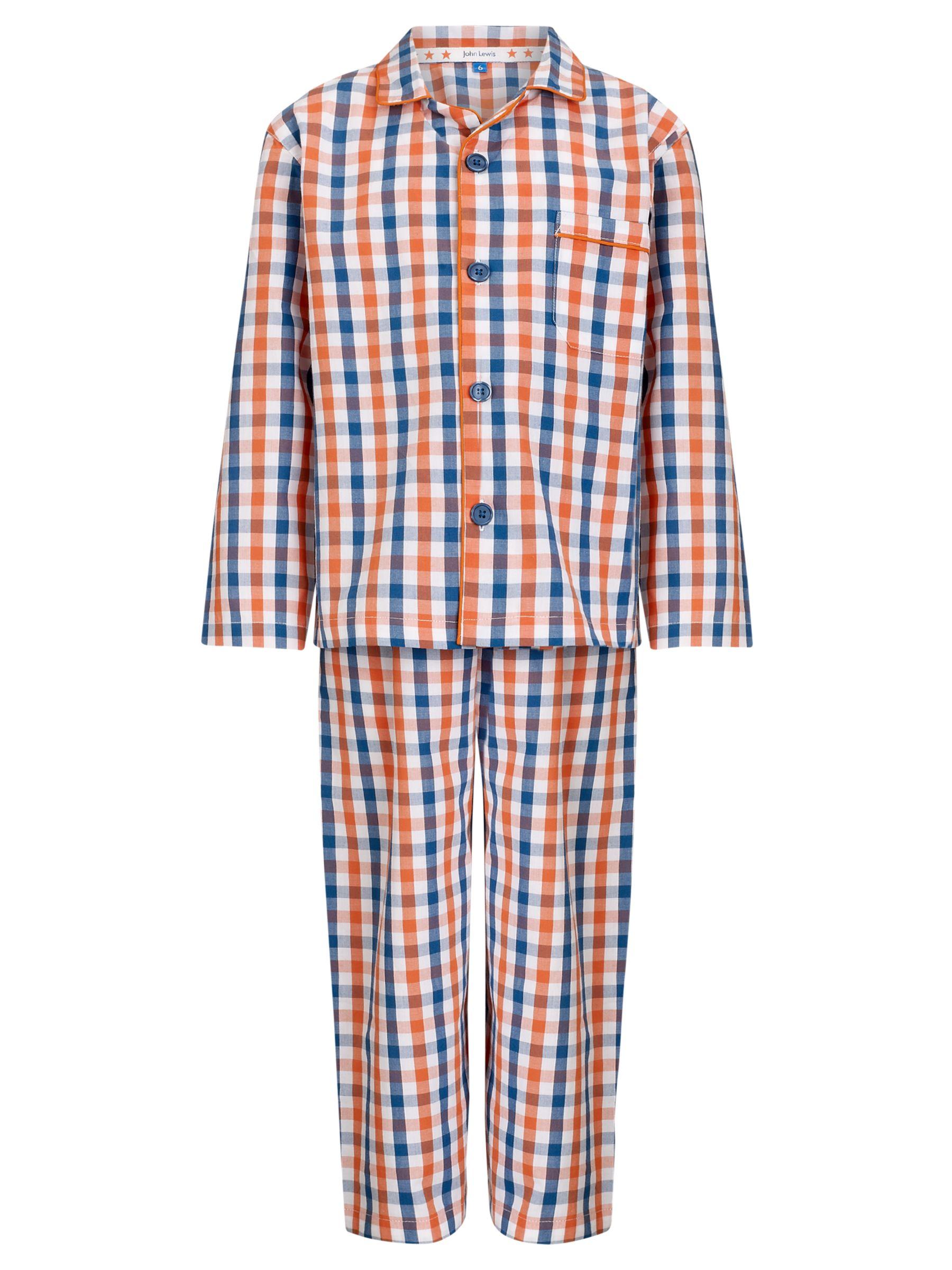 John Lewis Boy Gingham Checked Pyjamas, Orange/Blue