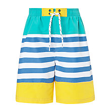 Buy John Lewis Boy Panelled Striped Swim Shorts, Blue/Yellow Online at johnlewis.com