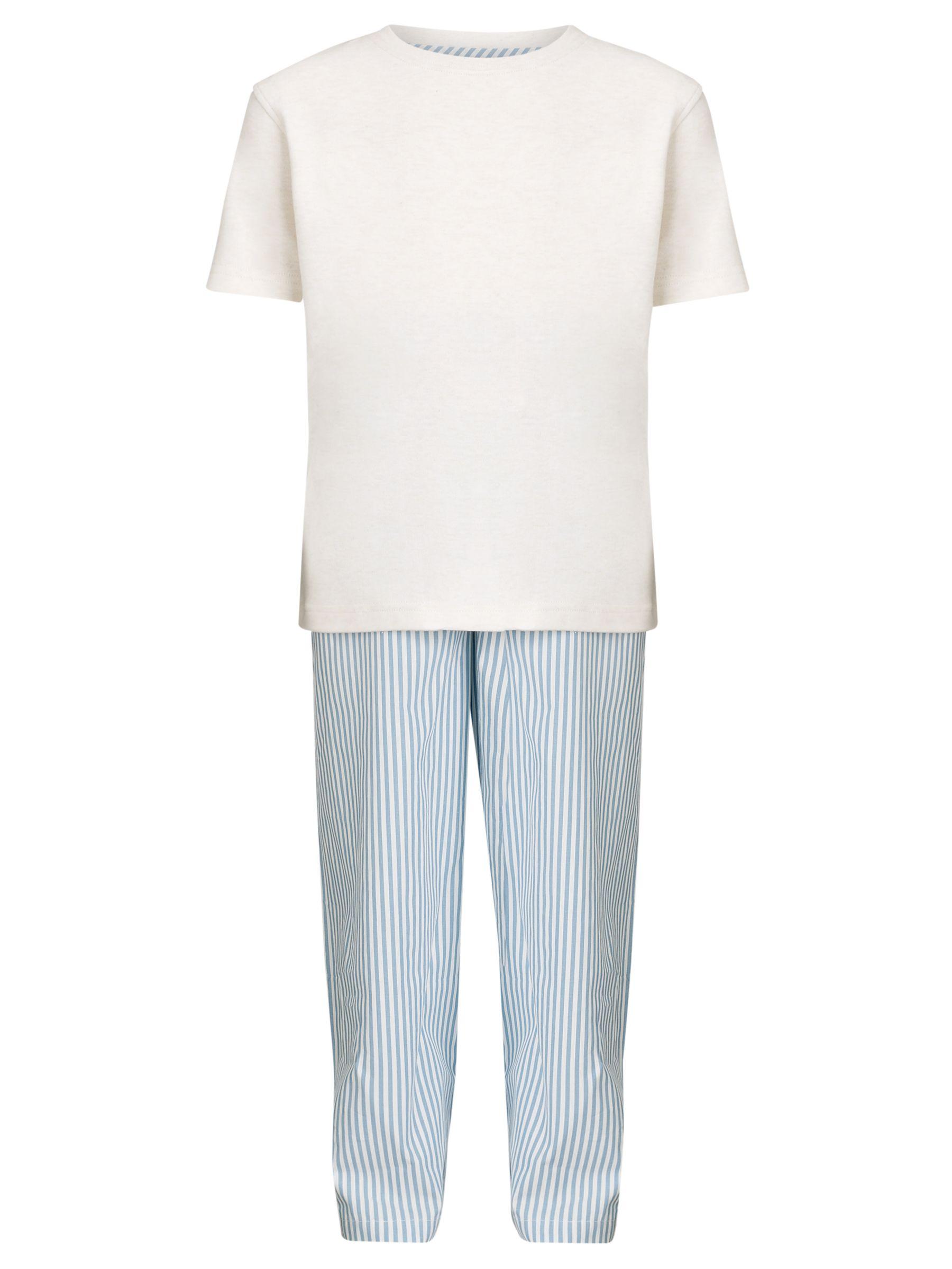 John Lewis Boy Striped Pyjamas, White/Blue