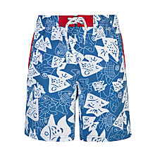 Buy John Lewis Boy Fish Board Shorts, Blue/White Online at johnlewis.com