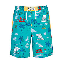 Buy John Lewis Boy Palm Trees and Sailboats Board Short, Turquoise Online at johnlewis.com