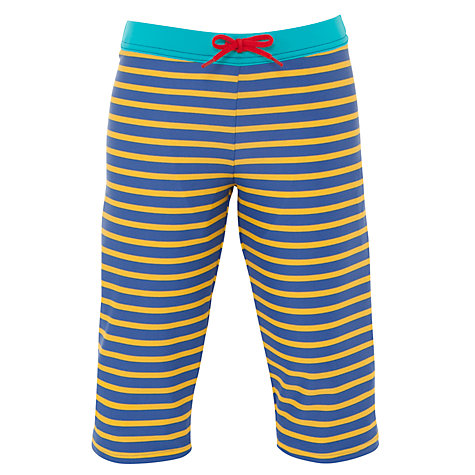 Buy John Lewis Boy Breton Striped Long Swimming Trunks, Blue/Yellow Online at johnlewis.com