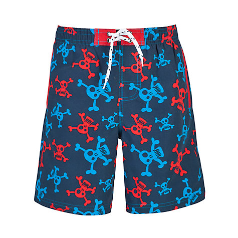 Buy John Lewis Boy Skull Board Shorts, Navy Online at johnlewis.com