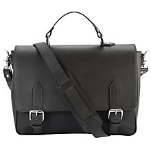 Buy John Lewis Made in Italy Saffiano Printed Leather Satchel, Black Online at johnlewis.com
