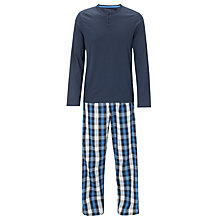 Buy John Lewis Plain Top and Check Lounge Pants, Navy Online at johnlewis.com
