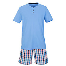 Buy John Lewis Short Sleeve T-Shirt and Check Shorts, Blue/Multi Online at johnlewis.com