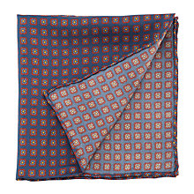 Buy John Lewis Print Pocket Square, Navy/Burgundy Online at johnlewis.com