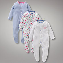 Buy John Lewis Baby Floral Bunny Sleepsuits, Pack of 3, Blue Online at johnlewis.com