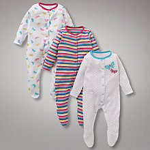 Buy John Lewis Baby Butterfly Sleepsuits, Pack of 3, Multi Online at johnlewis.com