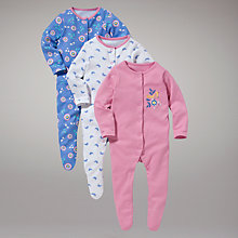 Buy John Lewis Baby Bird Sleepsuits, Pack of 3 Online at johnlewis.com
