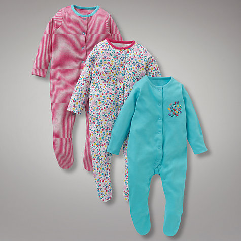 Buy John Lewis Baby Posey Sleepsuits, Pack of 3, Multi Online at johnlewis.com