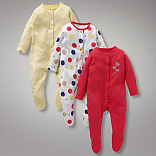 Buy John Lewis Baby Bumblebees Sleepsuits, Pack of 3, Red Online at johnlewis.com