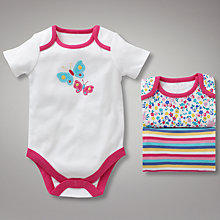 Buy John Lewis Baby Flower and Butterfly Bodysuits, Pack of 3, Pink Online at johnlewis.com