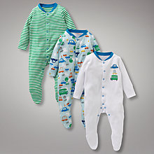 Buy John Lewis Baby Busy Cars Sleepsuits, Pack of 3, Multi Online at johnlewis.com