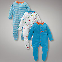 Buy John Lewis Baby Caterpillar Sleepsuits, Blue/White Online at johnlewis.com